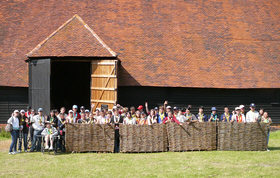 21st Scout Jamboree at Grange Barn in Coggeshall Essex. 2007, 50 childre came to the barn each day from their base camp at Highlands House, each child created a dragonfly and all had a turn at weaving a piece of fence.