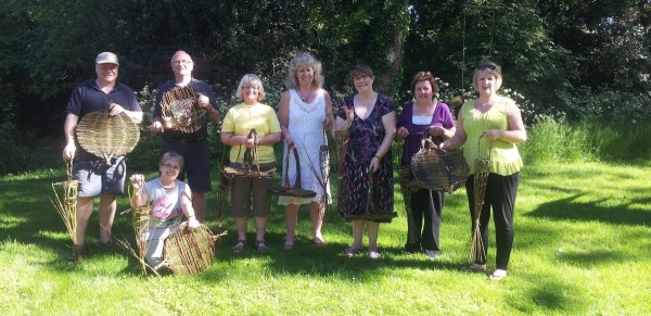 willow workshop at Greensted - juxta- Ongar making Catalonian tension platters and fat ball bird feeders.