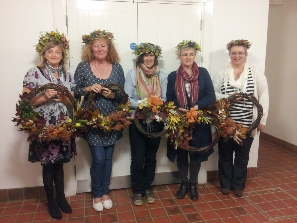 Autumn solstice workshop. The students made a welcome ring for the door with a willow base embellished withwith Autumn fruits and and seeds and a circlet headdress of wheat , barley and seed heads.