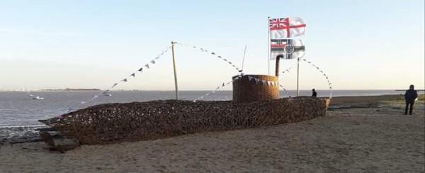 World War 1 German U-Boat on Harwich Beach just over 50 foot long.