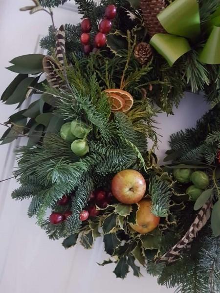 Christmas wreath, xmas, willow, moss, High Roding,WI,Essex,Deb Hart